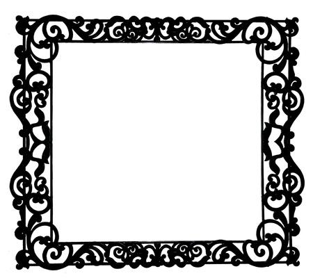 The Antique of iron frame isolated on white background photo
