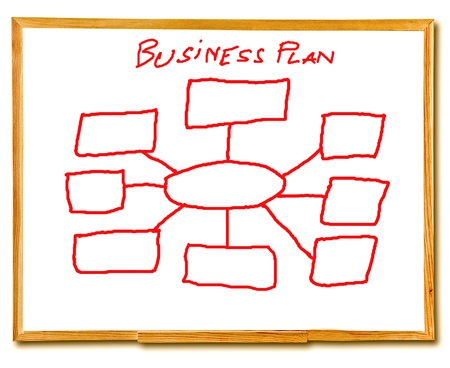 The Drawing business plan on white board isolated on white  background photo