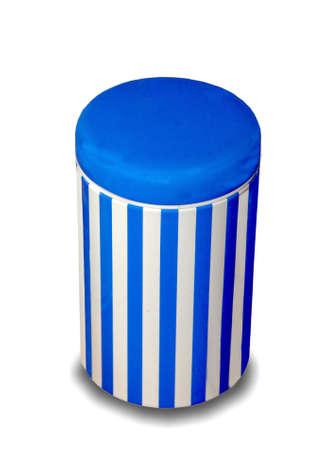 The Blue tin isolated on white background photo