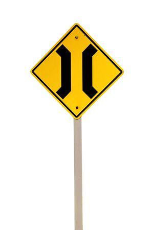 restrictions: The Narrow Bridge sign isolated on white background Stock Photo