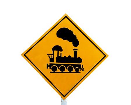 ferrocarril: La se�al de cruce ferroviario aisladas sobre fondo blanco