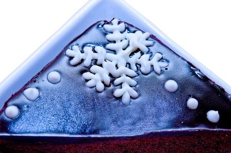 La torta al cioccolato con fiocco di neve Archivio Fotografico - 12309776