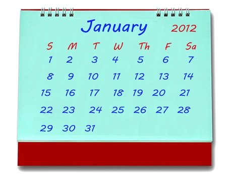 The Calendar of january 2012 isolated on white background photo