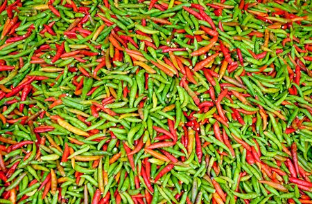 The Red and green chili background texture photo
