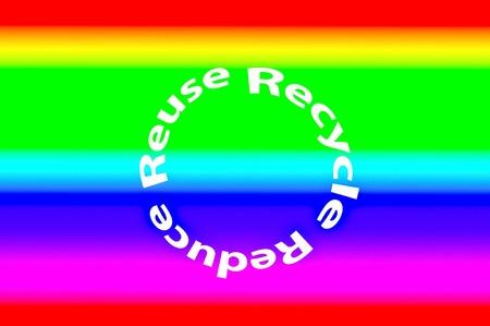 phrases: Las frases de colores ecol�gicos-para Reducir, Reusar y Reciclar Foto de archivo
