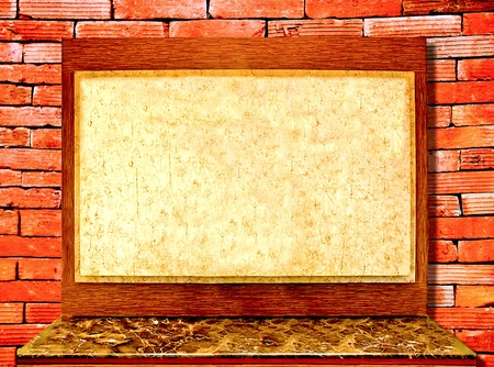 The Vinatge board and desk on brickwall background photo