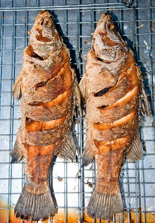 The Fried seabass fish Stock Photo - 12624591