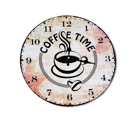 The Clock of coffee time isolated on white background photo
