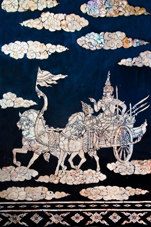 The Buried pearl of thai art on wood