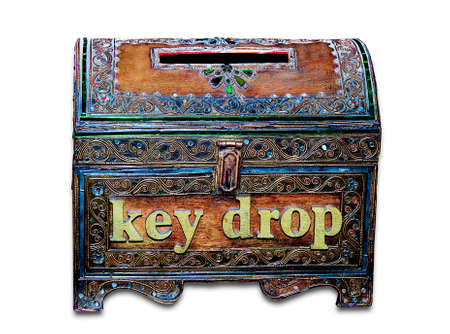 The Old wooden box of key drop isolated on  white background