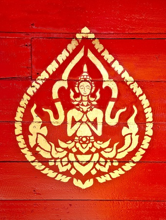 asian angel: The Painting golden color of deva on wood in the  temple