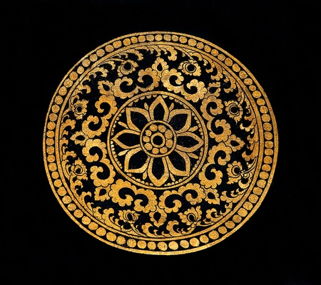 The Painting golden pattern on wood in the  temple Stock Photo - 12617226