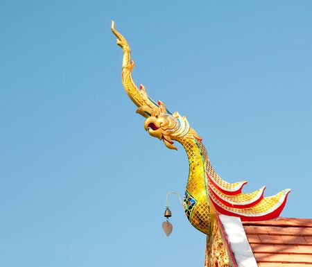 The Gable apex  of temple on blue sky background
