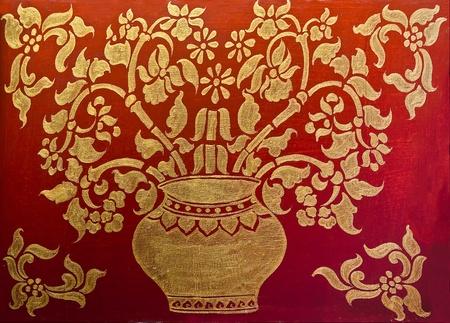 The Art of pattern  golden thai style on wood Stock Photo - 12617198