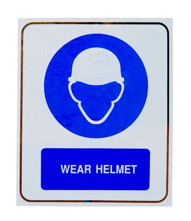 protective wear: The Sign of wear safety helmet isolated on white background