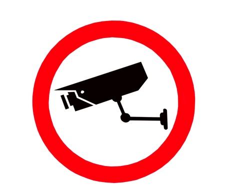 letrero: El signo de signo de videovigilancia aisladas sobre fondo blanco