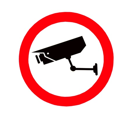 camera surveillance: The Sign of Video surveillance sign isolated on white background
