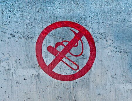 The Logo no smoking on steel sheet background photo