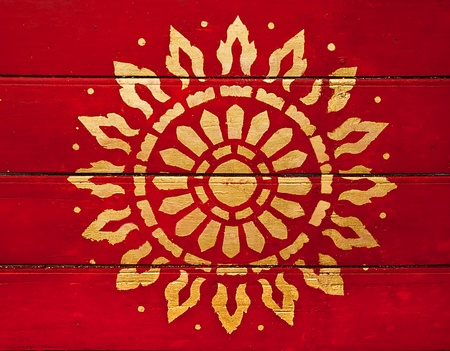 The Painting golden symbol of religion on wood in the  temple photo