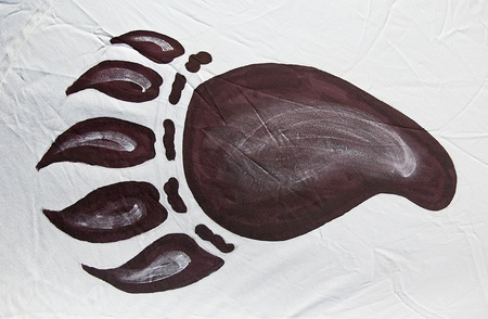 The Imprint of foot animal on indian tent photo