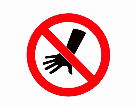 The Sign of no hand throwing isolated on white background photo