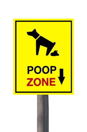 The Sign of dog poop zone isolated on white background photo