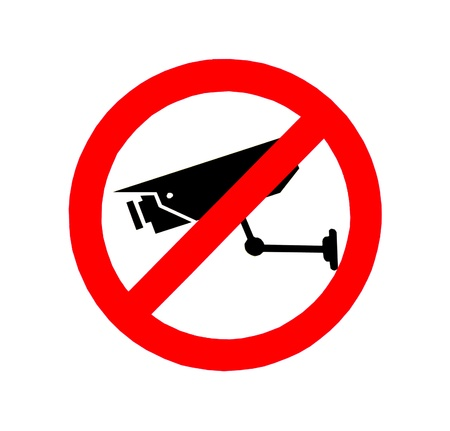 The Sign of no video surveillance isolated on white background photo