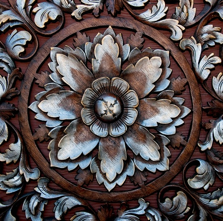The Old carving wood ornament of flower pattern thai style Stock Photo