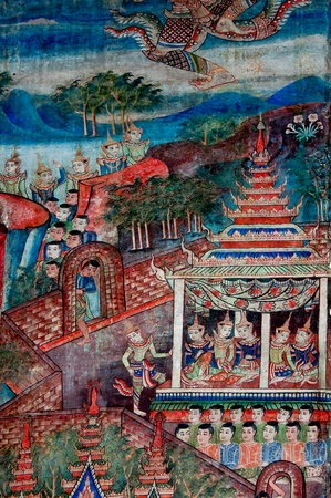The Ancient painting of buddhist temple mural  at Wat Phra sing, a famous temple in chiangmai province, Thailand. The temple is open to the public and has beautiful murals on the walls.