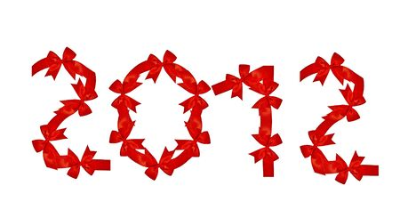 The Red ribbon of 2012 isolated on white background photo