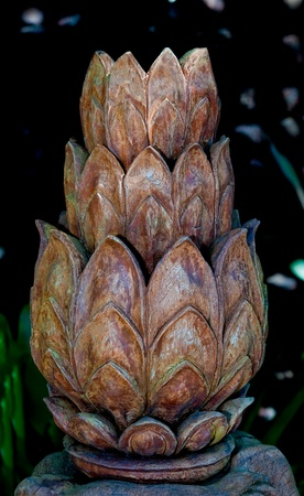 The Carving wood of lotus photo