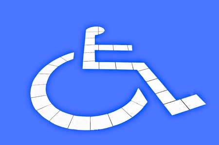 The Reserved car park for handicapped isolated on blue background Stock Photo - 13148431