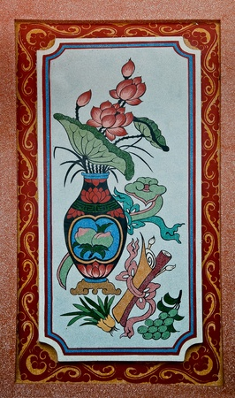 The Colorful of old painting on wall in joss house. This is traditional and generic style in Thailand. No any trademark or restrict matter in this photo. photo