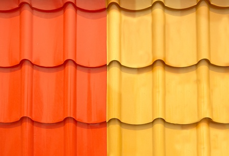 corrugated iron: The Colorful roof metal Stock Photo