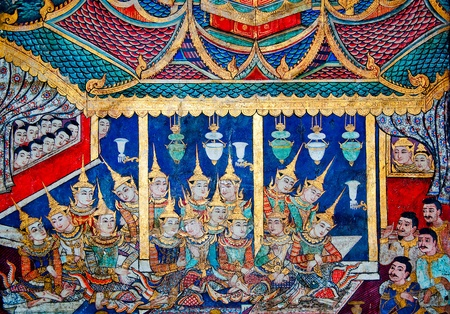 The Ancient painting of buddhist temple mural at Wat Phra sing, a famous temple in chiangmai province, Thailand. The temple is open to the public and has beautiful murals on the walls. photo