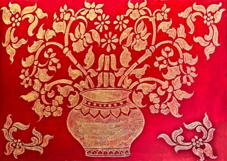 The Art of pattern  golden thai style on wood Stock Photo - 13149168