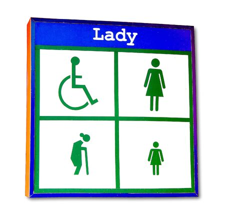 The Lightbox  restroom of lady isolated on white background photo
