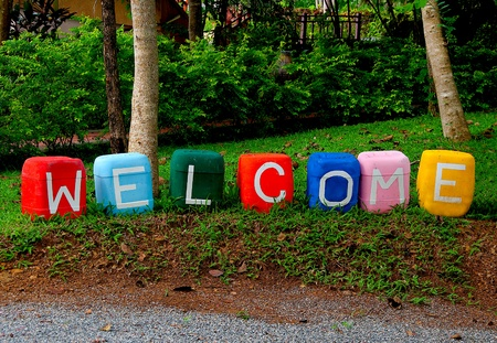 The Colorful of welcome text photo