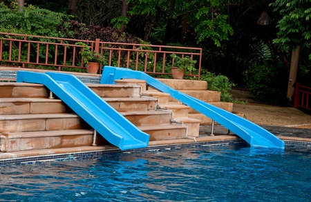 The Water slide of pool in the forest