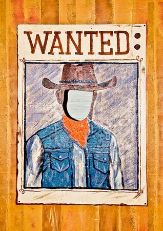 Wanted poster with blank face mask on wood wall photo