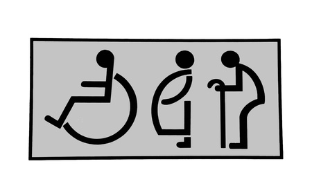 accessible: The Sign of restroom isolated on white background Stock Photo