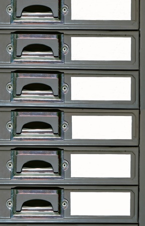 The Drawer steel of cabinet with blank label photo