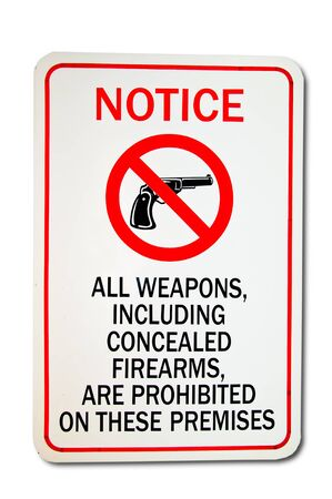 The Sign of no weapon allowed isolated on white background Stock Photo - 13543156