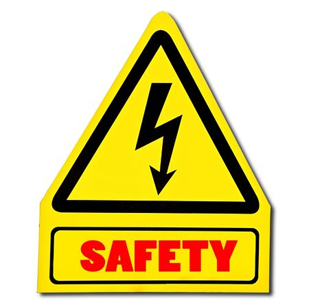The Sign of safety of electricity from high voltage isolated on white background Stock Photo - 13598039