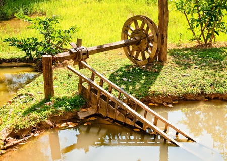 pollution water: The Wooden turbine wind of thai style