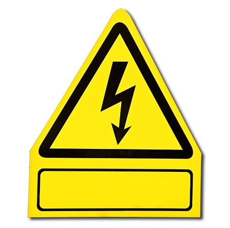 The Sign of danger of electricity from high voltage isolated on white background Stock Photo - 13654132