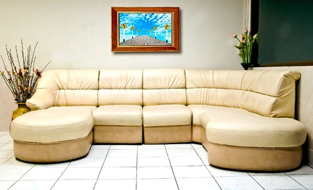 The Interior modern room of white sofa with wooden frame photo