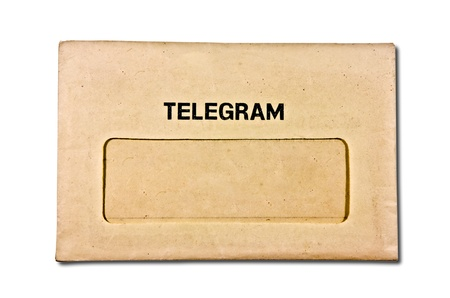 telegram: The Old envelope of telegram isolated on white background Stock Photo