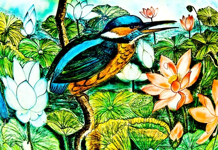 The Painting of kingfisher on ceramic vase background.This is traditional and generic style in Thailand. No any trademark or restrict matter in this photo. photo