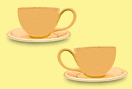 The Cup of coffee isolated on yellow background photo